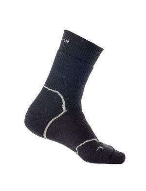 男款 美丽诺羊毛Hike+加厚中筒徒步袜 选用美丽诺羊毛制成的男款Hike+加厚中筒徒步袜带有全衬垫,富有弹性、透气防臭、结实耐穿,采用贴合足部曲线的设计,是寒冷天气下日间徒步和背包旅行的理想选择。