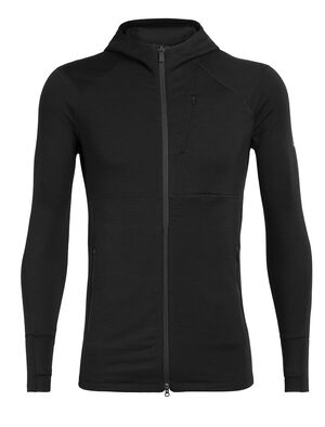 Mens Merino Quantum II Long Sleeve Zip Hood Jacket  A stretchy, highly technical merino mid layer designed for cool-weather alpine pursuits, the Quantum II Long Sleeve Zip Hood is ready for adventure.