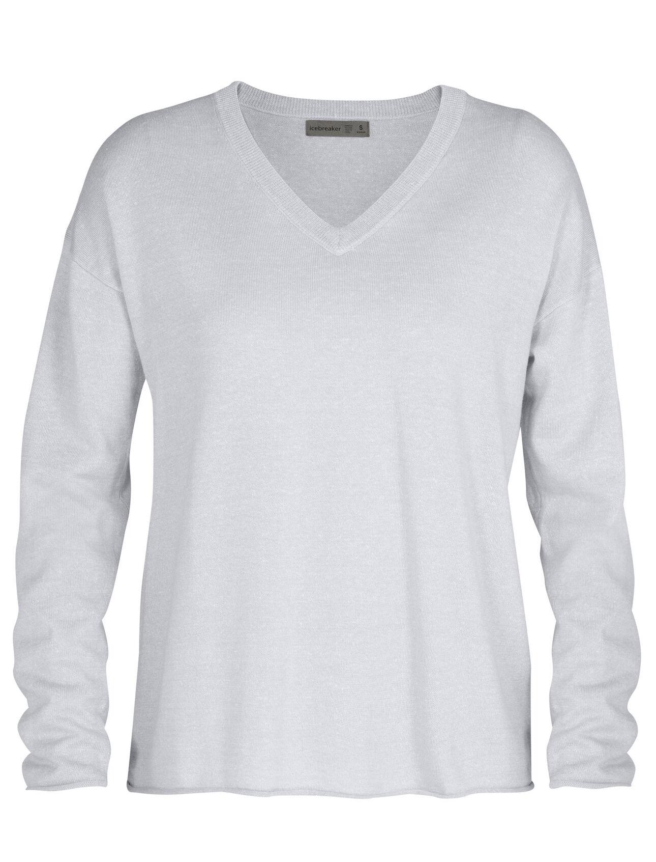 Merino Flaxen Long Sleeve V Neck Sweater