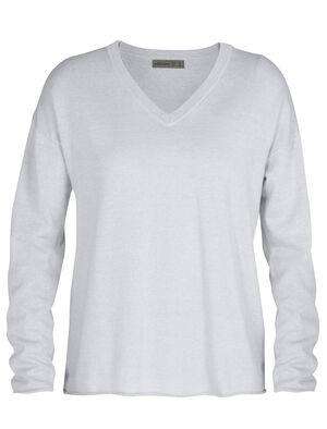 Sweater manches longues col en V mérinos Flaxen