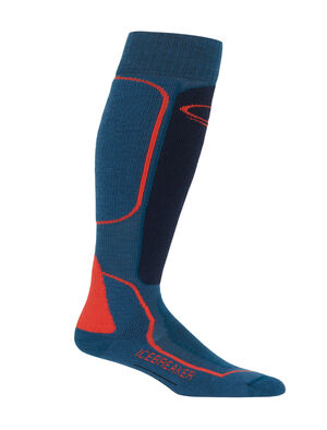 Mens Ski+ Medium Over The Calf Fully cushioned men's ski socks for skiing the resort or the backcountry, the Ski+ Medium Over the Calf socks are made with a durable, breathable merino wool blend.