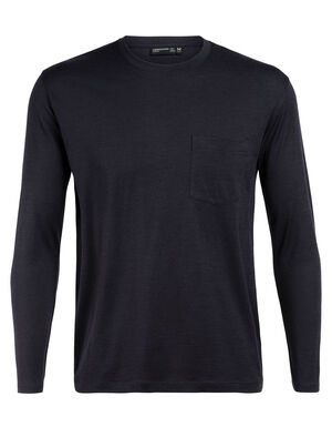 Homme 旅 TABI Tech Lite Long Sleeve Pocket Crewe Issu de notre collection 旅 TABI, une collaboration entre icebreaker et la maison japonaise GOLDWIN, le Tech Lite Long Sleeve Pocket Crewe pour homme est un t-shirt léger à la coupe décontractée, composé d'un soyeux jersey corespun en mérinos.