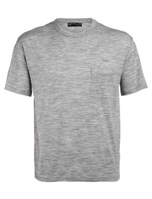 Mens Merino Tech Lite Laidback Short Sleeve Pocket Crewe T-Shirt A relaxed-fit tee ideal for everyday living, the Tech Lite Laid-Back Short Sleeve Pocket Crewe features our soft and durable merino jersey corespun fabric.
